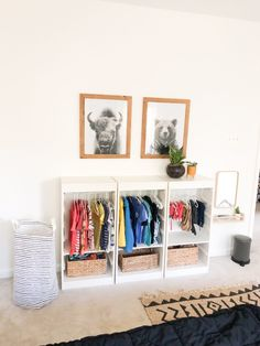 Part of learning Care of Self is self dressing. In Montessori, as soon as a baby can stand and walk on their… Montessori Ikea, Montessori Toddler Bedroom, Ikea Toddler Room, Ikea Kids Bedroom, Kids Bedroom Storage, Toddler Bedroom Ideas, Ikea Storage Kids, Ikea Hack Kids Bedroom, Boys Shared Bedroom Ideas