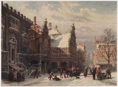 Cornelis Springer (1817-1891), Het stadhuis van Haarlem bij winter, 1865, collectie Teylers Museum