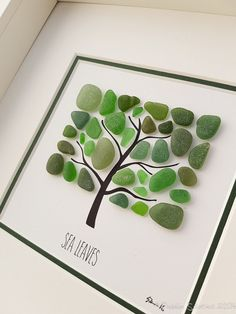 Seaglass Art  Beach Picture  Wall Art  Glass Art  Family
