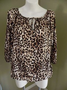 Womens Ellen Tracy Beige/Black Leopard Print Silky Keyhole 3/4 Sleeve Blouse Top…