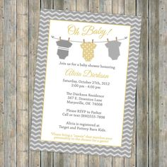 Onesie baby shower invitation, Onesie shower, banner shower invitation, yellow and gray, Digital, Printable file (any colors). $13.00, via Etsy.