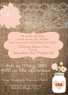 Rustic Mason Jar Wedding Invitation with Lace and Flowers- Invite and RSVP Package