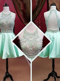 Gorgeous 2015 Scoop Beading Short Mini  Mint Homecoming Dresses Prom Gowns Party Dress CHHD-70902