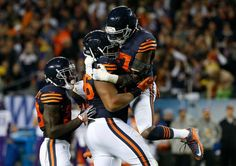 Monday Night Football: Vikings vs. Bears:   20-10, Bears  -     Mon. October 31, 2016.     Chicago Bears defensive end Akiem Hicks (96) celebrates his sack on Minnesota Vikings quarterback Sam Bradford (8) with Sherrick McManis (27) during the first half of an NFL football game in Chicago, Monday, Oct. 31, 2016.