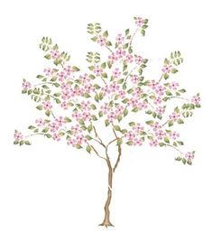 This small dogwood tree wall stencil is beautiful in a garden scene. Tree Stencil For Wall, Wall Stencil Patterns, Tree Wall Art, Stencil Painting, Dogwood Trees, Rose Trees, Wisteria Tree, Tree Clipart, Flower Clipart