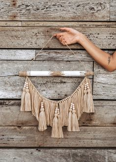"""""""Luna"""" Beige Wall Hanging This driftwood hanging can add texture to any empty wall or hang above a headboard in a bedroom. Macrame Wall Hanging Diy, Hanging Beads, Macrame Art, Macrame Design, Macrame Projects, Macrame Wall Hangings, Driftwood Macrame, Yarn Wall Art, Macrame Patterns"""
