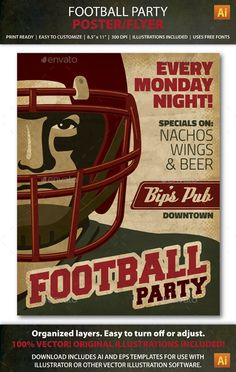 Retro Football Party / Event Poster or Flyer Template AI   Buy and Download: http://graphicriver.net/item/retro-football-party-event-poster-or-flyer/9009547?WT.ac=category_thumb&WT.z_author=JulieFelton&ref=ksioks