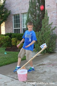 Simple Water Balloon Catapults. Build a simple wooden catapults, place the other side with a bowl to place your water balloon inside. This is a great project for a hot day.