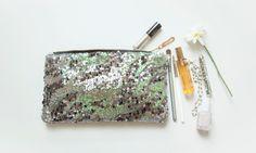 DEEP Sea Green STELLA Slim Sequin Clutch. by GiftShopBrooklyn, $54.00