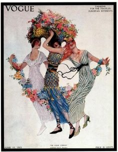 Vintage Vogue Magazine Cover Poster- June 15, 1913 -Fashions for the Traveler/European Interests