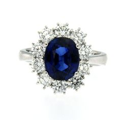 3.85 Carat Burma Sapphire Diamond Cluster Ring