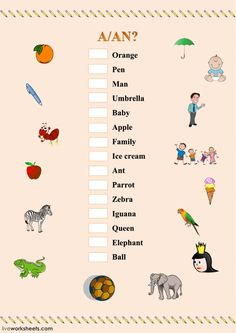A or AN Language: English Grade/level: Beginners School subject: English as a Second Language (ESL) Main content: Indefinite articles Other contents: Vocabulary English Activities For Kids, English Grammar For Kids, English Worksheets For Kindergarten, Learning English For Kids, Teaching English Grammar, English Grammar Worksheets, English Lessons For Kids, Kids English, English Writing Skills