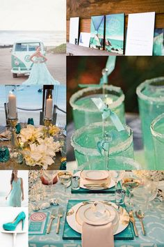Just beachy turquoise wedding inspiration board on Marry Me Metro http://marrymemetro.com #blue #beach #wedding #ideas