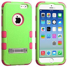 """myLife Bice Green and Pink {3 Piece Slim Kickstand Design} Neo Hybrid Armor Case for the NEW iPhone 6 (6G) 6th Generation Phone by Apple, 4.7"""" Screen Version (Two External Snap On Hard Protector Plates + Full Body Internal Soft Silicone Bumper Gel Protection) myLife Brand Products http://www.amazon.com/dp/B00NQA39UE/ref=cm_sw_r_pi_dp_yGNtub1B7169X"""