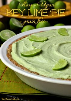 Key Lime Pie (Raw, Grain Free, Vegan) #vegan #paleo #raw #glutenfree