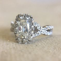 Elongated cushion cut diamond engagement ring by Henri Daussi. Shop for cushion cut diamonds on our website!