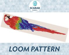Parrot Ara Pattern Loom Bead Bracelet / Cuff by ScarabJewels Bead Loom Bracelets, Beaded Bracelet Patterns, Bead Loom Patterns, Beading Patterns, Stitch Patterns, Bead Loom Designs, Pandora Bracelets, Beaded Animals, Beads And Wire