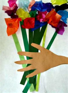 kids trace & cut out their hand, then add strips of green paper for stems. next they wrap tissue squares around the eraser end of the pencil & glue to the tops of the stems. An easy beautiful spring bouquet. Great idea for Mother's Day. Spring Art, Spring Crafts, Holiday Crafts, Mother's Day Activities, Spring Activities, Kids Crafts, Arts And Crafts, Art Crafts, Kindergarten Art