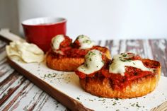 I Thee Cook: Open Faced Meatball Parmesan Sammies