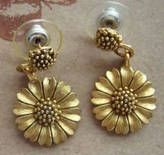 Matte gold EH sunflower pierced dangle by BeatriceBeeVintage, $18.00