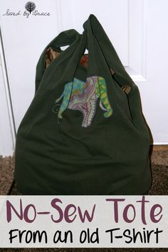 No Sew Tote from a T Shirt- This no sew tote bag is a fun craft to ...