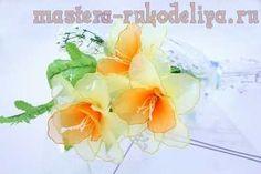 Видео мастер-класс по цветам из капрона: Нарцисс