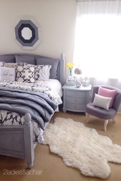 The HomeGoods mirror above the bed was the inspiration for this bedroom decor. I painted my old furniture a distressed grey giving it new life, then I chose calm grey and white for the bedding. I shopped HomeGoods for the accessories and also found this adorable tufted chair which is perfect in this space. Sponsored by HomeGoods