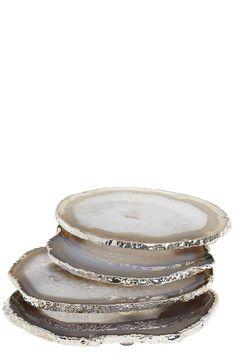 Silver Trim Agate Coasters | Calypso St. Barth