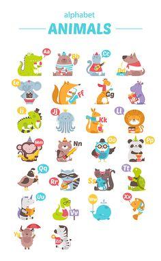"Alphabet ""animals"" on behance. Animal Alphabet, Alphabet For Kids, Alphabet Art, Alphabet Posters, Bible Crafts For Kids, Animal Crafts For Kids, Art For Kids, Baby Illustration, Illustrations"