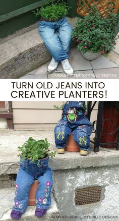 recycle old jeans for this great planter ideas