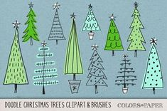 Hand Drawn Christmas Trees Clipart