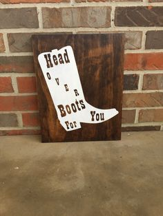 Head Over Boots For You Wood Sign / / Home Decor / Jon Pardi / Country Music / Wedding / Wall Decor / Rustic Decor / Anniversary Diy Rustic Decor, Rustic Farmhouse Decor, Music Canvas, Wedding Wall Decorations, Country Wall Decor, Over Boots, Ranch Decor, Cute Signs, Wood Signs