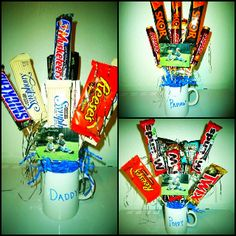"Candy Bouquets for Father's Day. Plain white mugs from Dollar Tree decorated with Sharpie. Floral foam in the mug and craft ""grass"" from Dollar Tree. Candy hot glued to skewers and a picture of the kids."