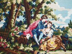 Vintage French needlepoint tapestry canvas embroidery