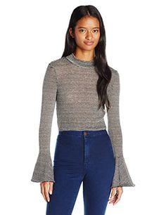 XOXO Women's Striped Mockneck Cropped Bell Sleeve Sweater, Black/White, X-Large