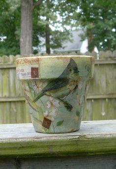 "Handmade Decoupage Terra Cotta Clay Flower Pot 4.25"" Tufted Titmouse Bird  uk.picclick.com"