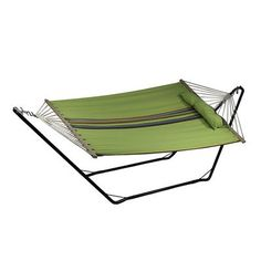 Sunnydaze Cotton Fabric Hammock and Detachable Pillow with 10 Foot Stand, Wildflower, 300 Pound Capacity