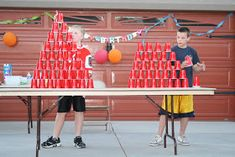 We had a Minute to Win party for Will last night at our home. We had 25 6th graders, all my boys, a couple friends, and Grandma and Grandpa...