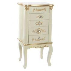 Sinfonier Ariana 4 cajones madera blanco dorado vintage Dresser, Furniture, Home Decor, White Wood, White People, Vintage Homes, Wooden Drawers, Powder Room, Decoration Home