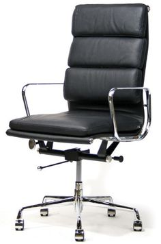 Showtime High-Back Soft Pad Modern Office Chair: This classic 1960's design is constructed with a polished aluminum frame, base and armrests and upholstered with a genuine leather seat and back. This contemporary office chair has a 5-star base, tilt-swivel mechanism and seat-height adjustment and is a high quality reproduction of the original.    Colors: Black, White  #eames replica
