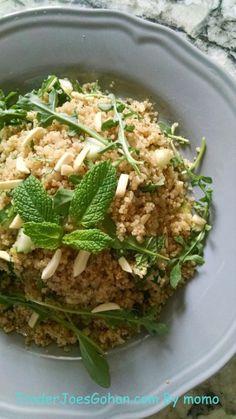 グルテンフリー コスコのキノア/キヌアとトレーダージョーズのオーガニックミントでピラフ   Quinoa Pilaf with Mint, Almonds and Arugula