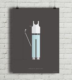 """Plakat z autorską grafiką inspirowany Freddiem Mercurym, frontmanem grupy Queen. Pochodzi z serii """"Kostiumy muzyczne"""" i przedstawia charakterystyczną dla muzyka koszulkę na ramach oraz nieodłączny mikrofon.  Drukowany za pomocą ekologicznych, bezwonnych tuszy pigmentowych EPSON Ultra K3 Ink. W ... Freddie Mercury, Wind Turbine, Posters, Design, Poster, Billboard"""