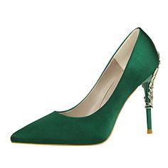chaussures vert militaire talon aiguille fleur