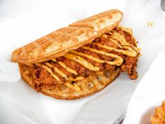 Fried Chicken Waffle Sandwich~ From the Waffle Bus