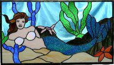 mermaid-stained glass window