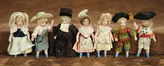 """""""Fascination"""" - Sunday, January 8, 2017: 202 Seven French All-Bisque Miniature Doll in Original Costumes"""