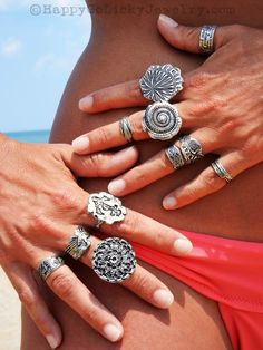 Boho Silver Jewelry, Handmade Rings by HappyGoLicky. CLICK to see more now.