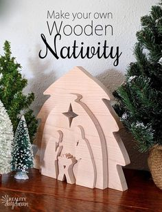 Looking for a unique decoration for your mantle this holiday season? Try your hand at this DIY wooden nativity scene!