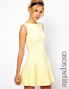 Image 1 ofASOS PETITE Exclusive Mini Dress With Pleat Skirt And Drop Waist