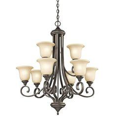 Monroe Olde Bronze Nine Light Chandelier W/Lighted Bowl Kichler Candles W/ 8 Or 9 Shades